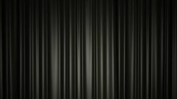 Schwarzer Seidenvorhang auf der Bühne. 3D-Illustration – Foto