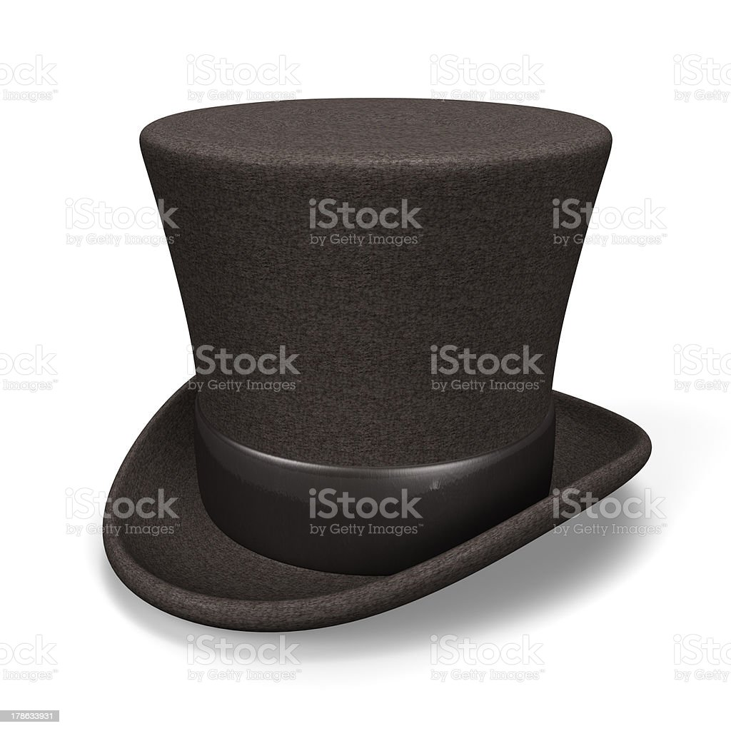 Black Silk Hat Top View stock photo