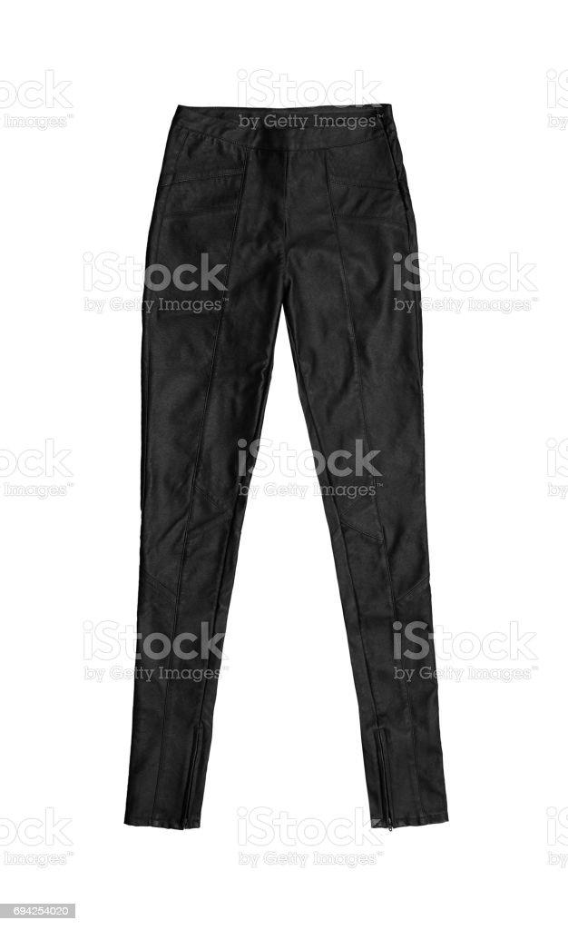 black skinny leather pants, isolated on white background royalty-free stock photo