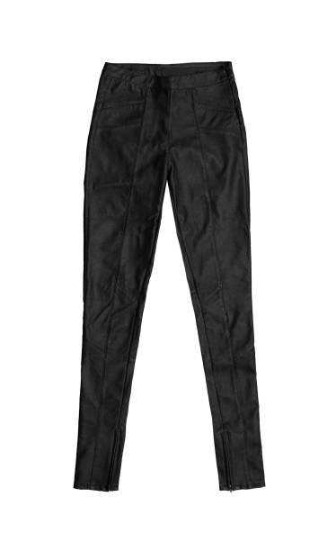 schwarze skinny lederhose, isoliert auf weißem hintergrund - leder leggings stock-fotos und bilder