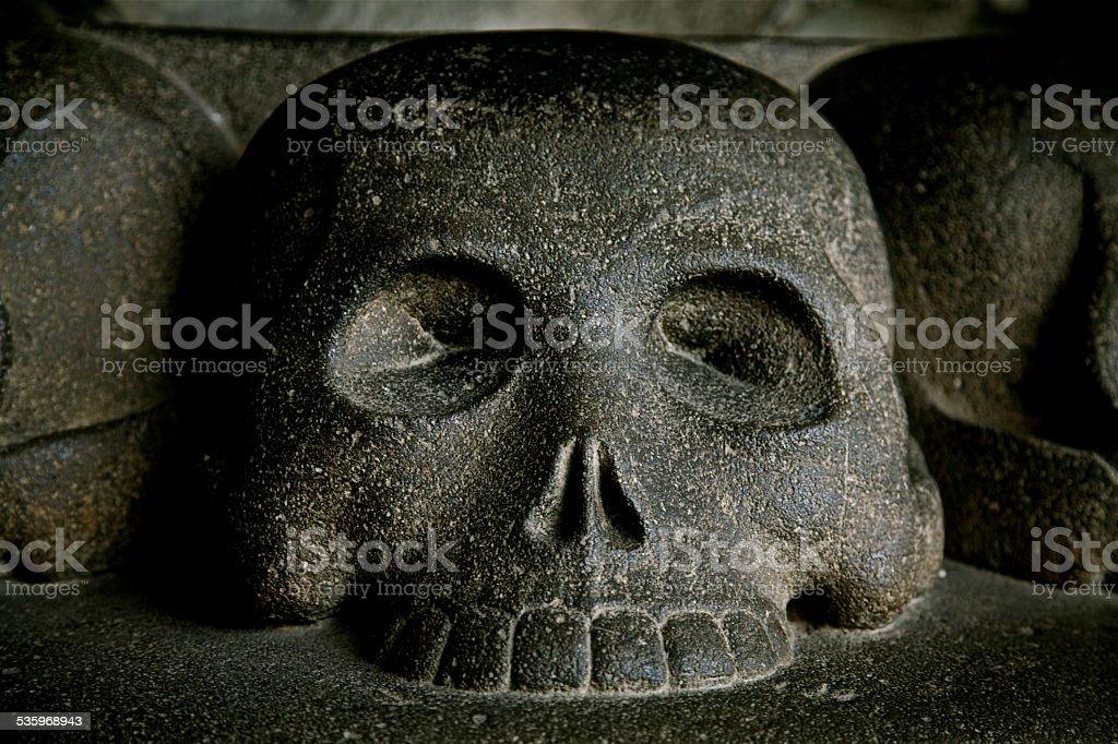 Black Skull Hell Death Fear Danger Evil Curse Spooky Archeology stock photo