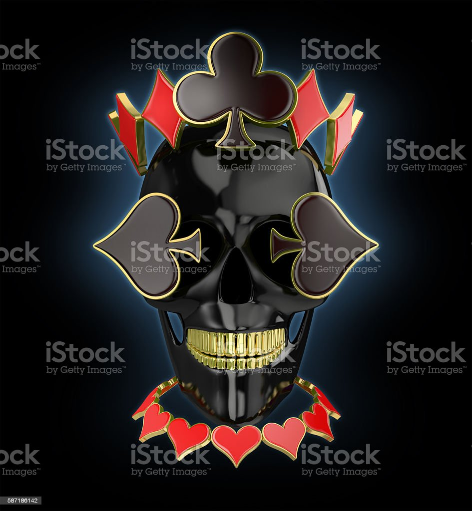 black skull with a poker card symbols on dark background stock photo