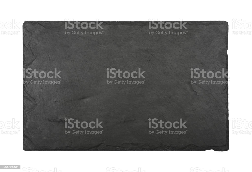 Black slate board isolated on white stock photo