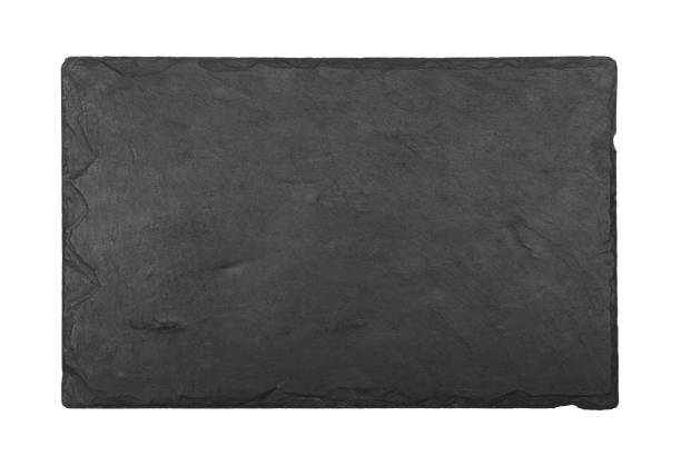 black slate board isolated on white - deska zdjęcia i obrazy z banku zdjęć