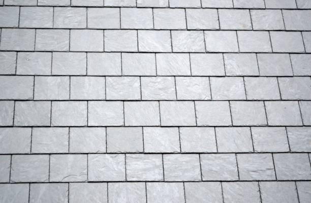 Black slate roof stock photo