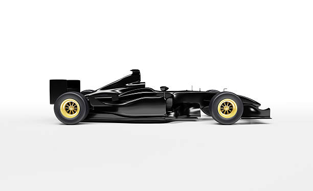 Black, sleek, Formula One Racing Car stock photo