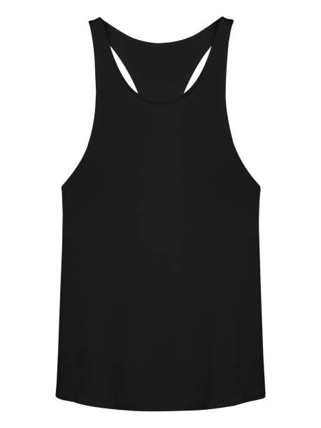 Black sleeveless T-shirt isolated on white Black sleeveless T-shirt isolated on white tank top stock pictures, royalty-free photos & images