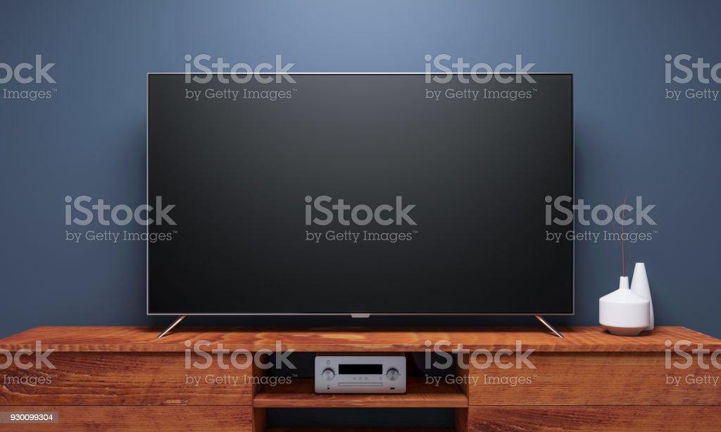 Maqueta de Tv Smart negro consola madera - foto de stock