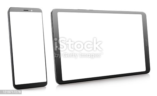 Black smartphone and tablet with white screens, isolated on white background
