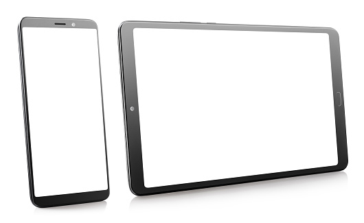 Black smartphone and tablet with white screens on white