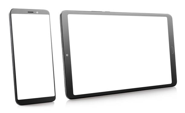 Black smartphone and tablet with white screens on white Black smartphone and tablet with white screens, isolated on white background ipad stock pictures, royalty-free photos & images
