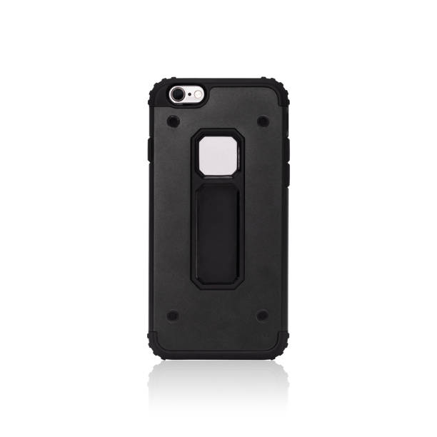 Black smartphone case isolated on white background. Strong mobile cover for shockproof. ( Clipping paths or cut out object for montage ) Can put text, image, and logo. stock photo