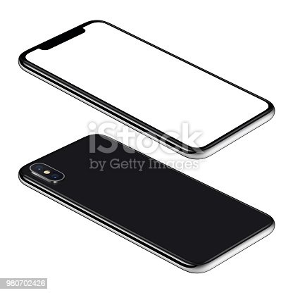 istock Black smartphone mockup front and back sides isometric view CCW rotated lies on surface 980702426