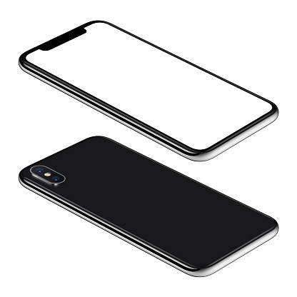 Black smartphone isometric mockup. Frameless smartphone front and back sides isometric view lies on surface. Smartphone Isolated on white background.