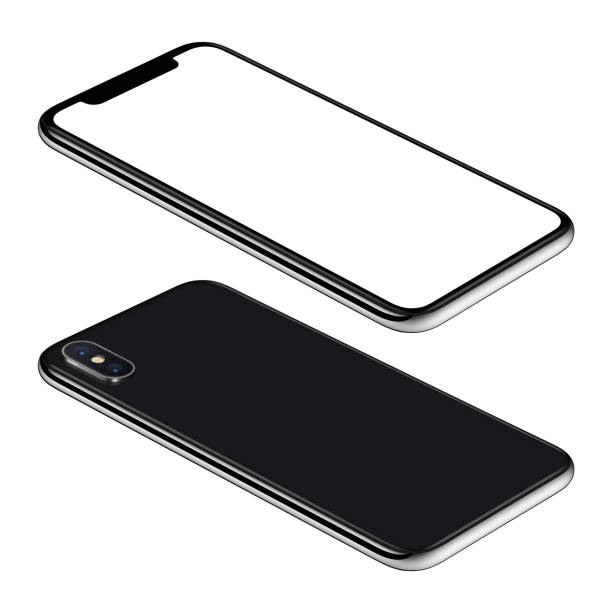 black smartphone mockup front and back sides isometric view ccw rotated lies on surface - смартфон стоковые фото и изображения