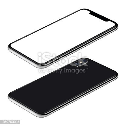 istock Black smartphone mockup front and back sides isometric view CW rotated lies on surface 980703028