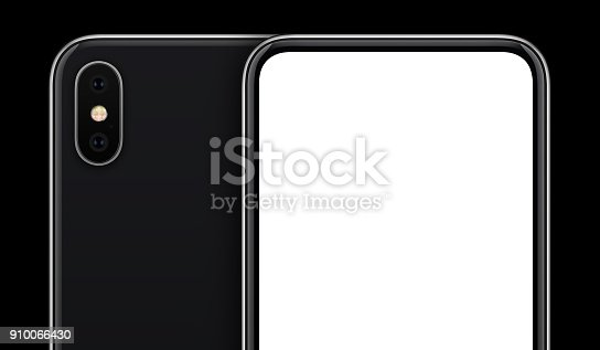 istock Black smartphone mockup front and back sides on black background with copy space cropped close-up 910066430