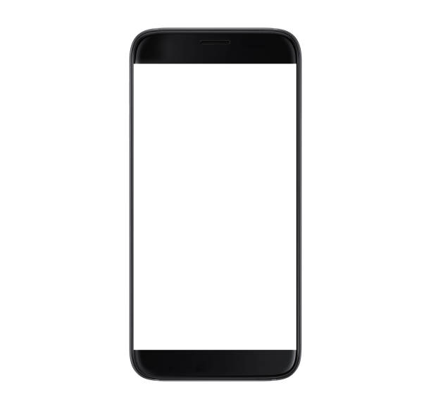 black smartphone with blank screen - using cell phone stock photos and pictures