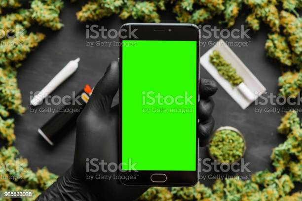 Black Smartphone With Green Screen For Chromakey And Key Ring Weed Grinder Lighter Joint A Lot Of Marijuana Fresh Buds Of Cannabis Many Weed Copy Spase Copyspace Top View - Fotografias de stock e mais imagens de Botão - Estágio de flora