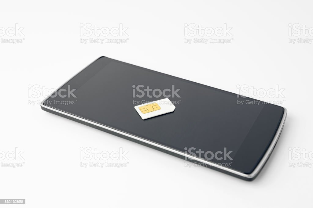 Black Smartphone With Sim Card stock photo