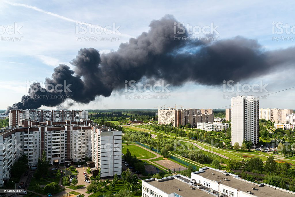 Black smoke from a major fire in Moscow, Russia stock photo