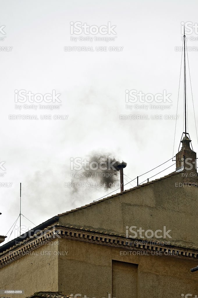 Black Smoke on the Pope Conclave's stock photo