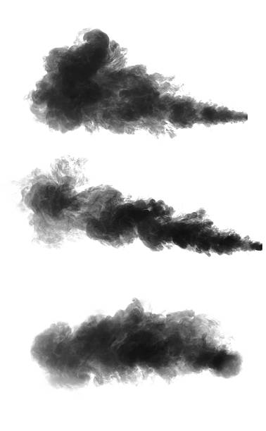 Black smoke Black smoke cloud isolated on black background smoke physical structure stock pictures, royalty-free photos & images
