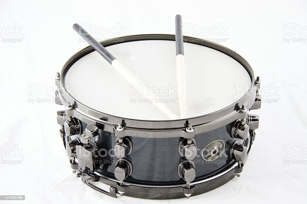 Black Snare Drum Isolated On White Background stock photo