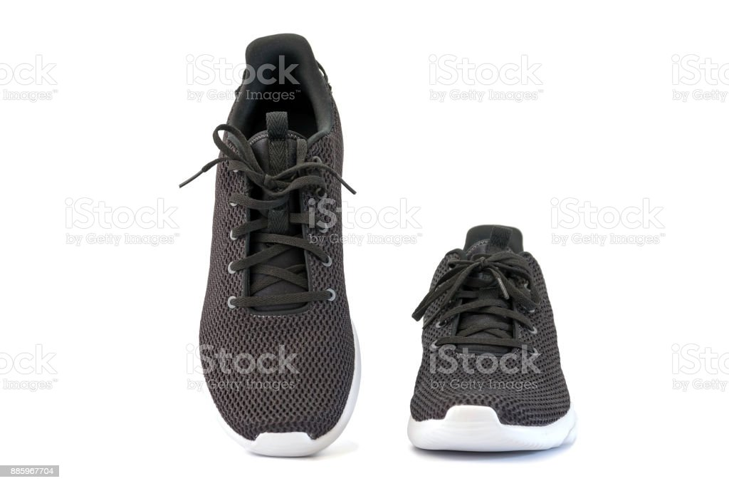 Black sneakers running shoes stock photo
