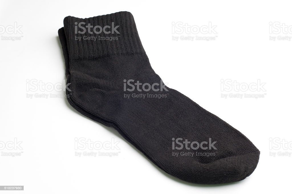 black socks on white background. stock photo