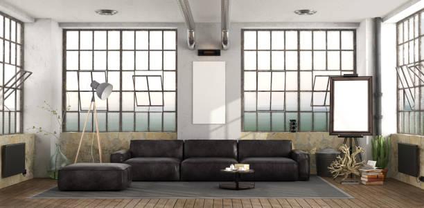 schwarzen sofa im loft - couchtisch metall stock-fotos und bilder