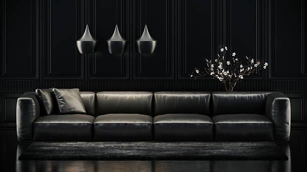 ブラックのソファー - ソファ 無人 ストックフォトと画像