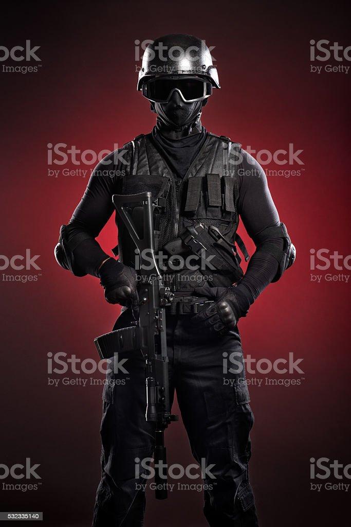 Black soldier stock photo