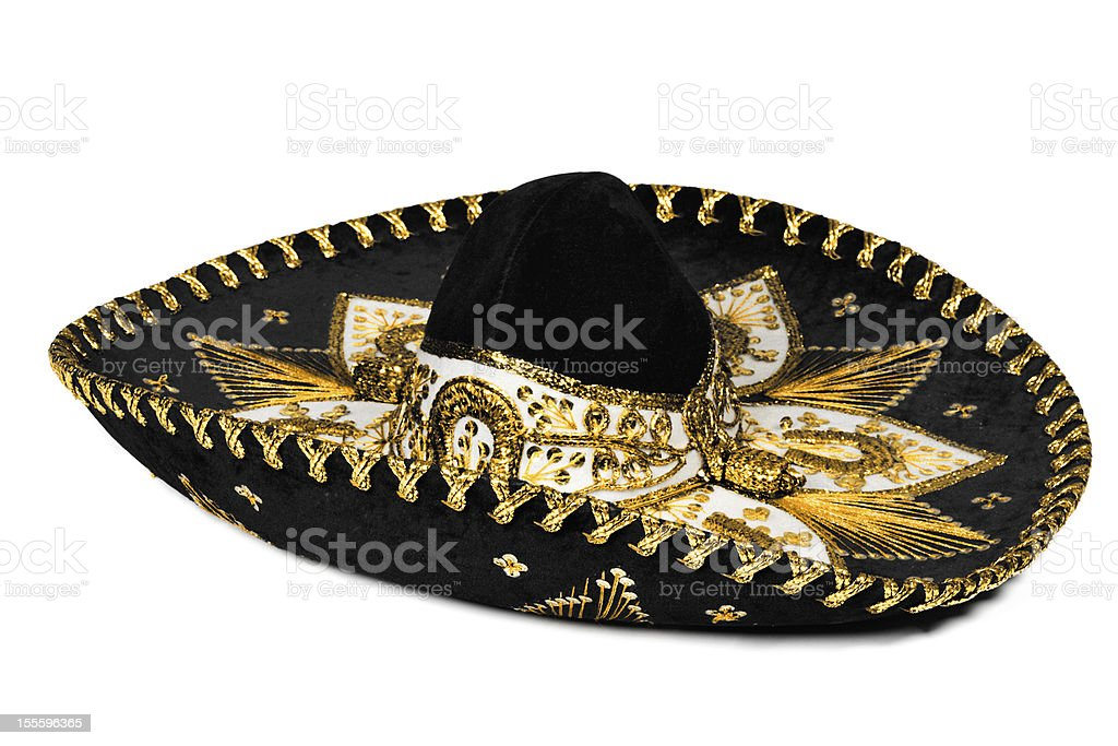 Black sombrero isolated stock photo