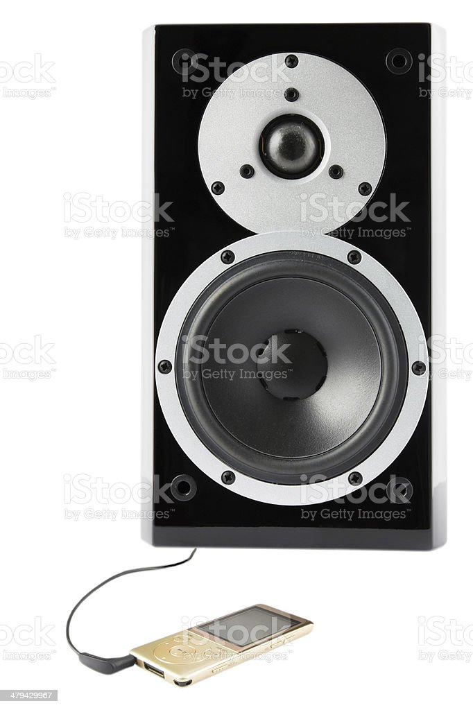 Black sound speaker and mp4 player royalty-free stock photo