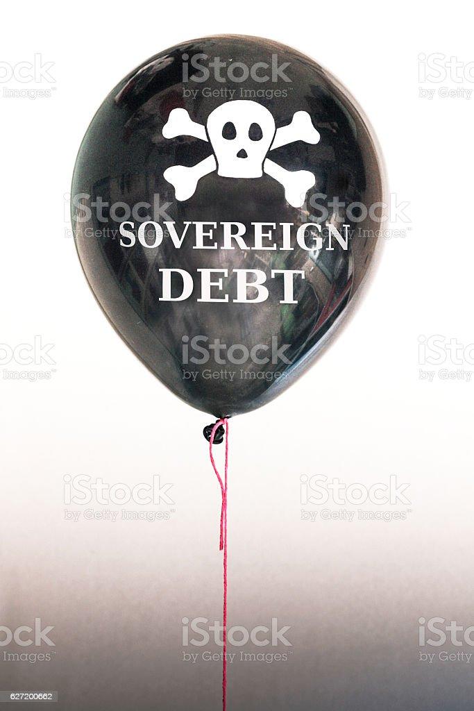 Black sovereign debt bubble stock photo