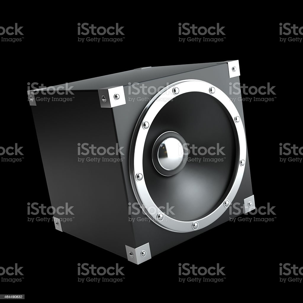 black speakers. High resolution 3d render stock photo