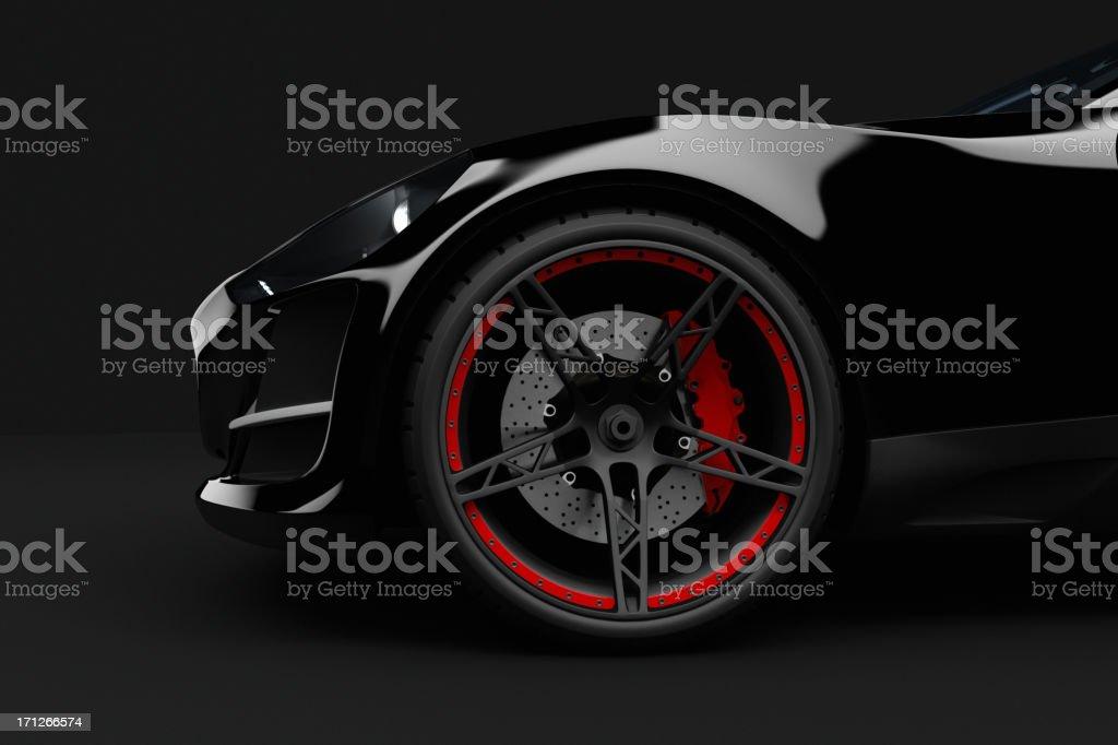 Black sport car on dark background royalty-free stock photo