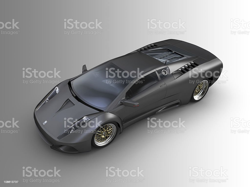 Black Sports car on grey background royalty-free stock photo