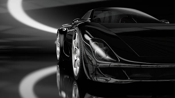 Black Sports Car  luxury car stock pictures, royalty-free photos & images