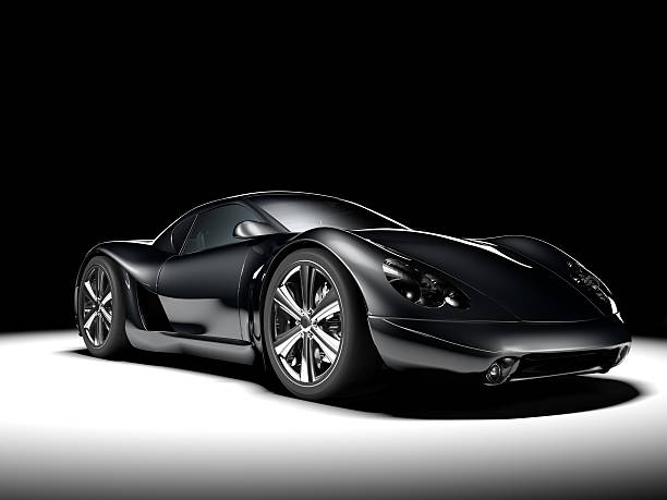 Black Sports Car A black sports car, spotlit against a black background. My own sports car design. Very high resolution 3D render. concept car stock pictures, royalty-free photos & images