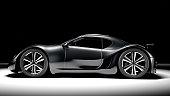 A black sports car, spotlit against a black background. My own sports car design. Very high resolution 3D render.