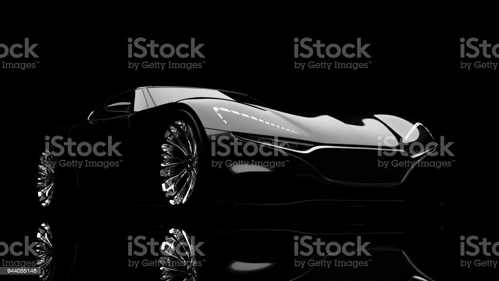 black sportscar studio shot stock photo
