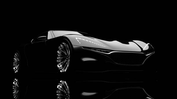 black sportscar studio shot
