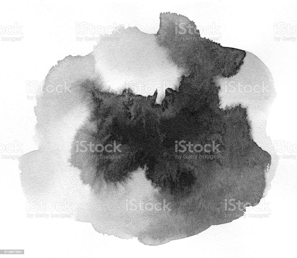 Tache noire sur papier aquarelle. - Photo