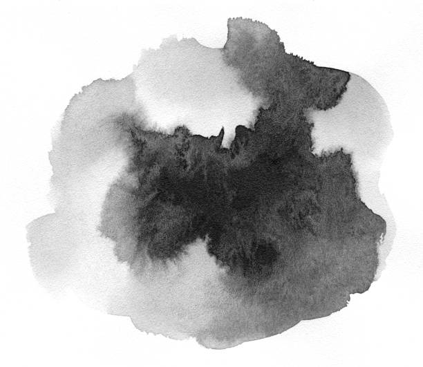 black spot on watercolor paper. - ink stock pictures, royalty-free photos & images