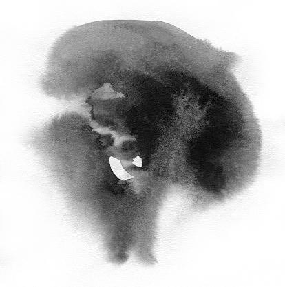 istock Black spot on watercolor paper. 913858106