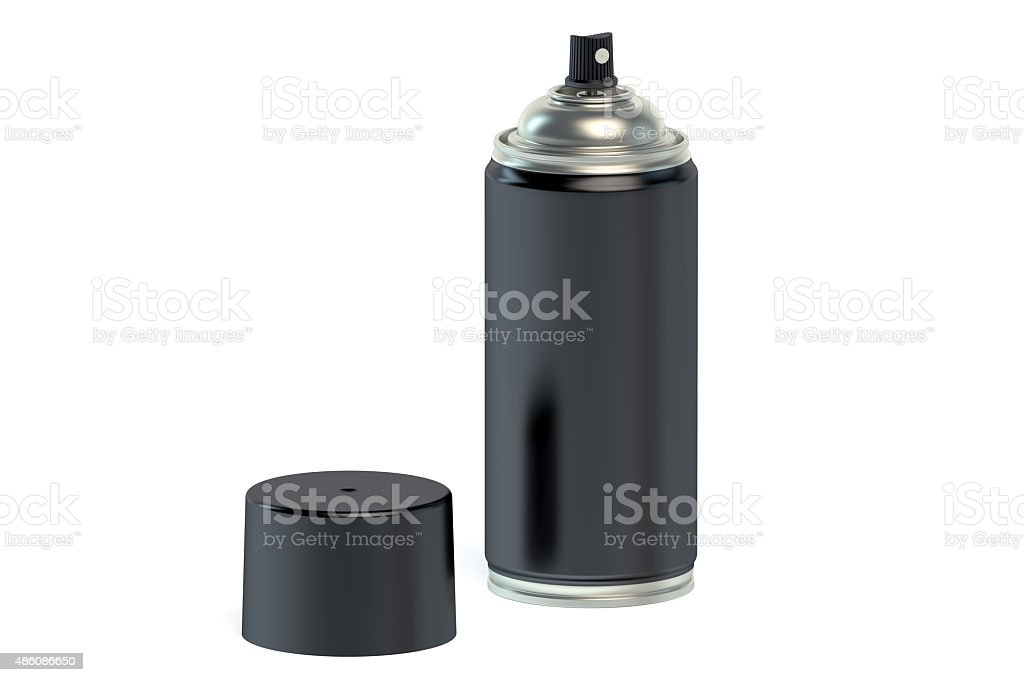 black spray paint can stock photo