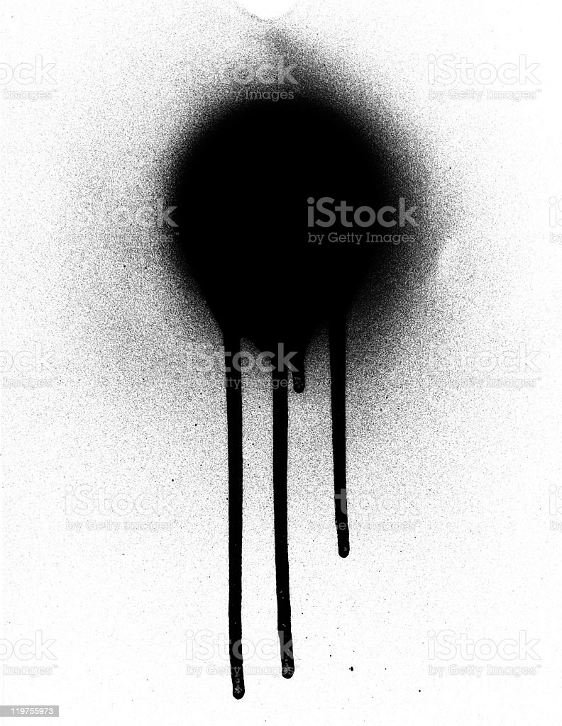 Black spray paint on white background dripping stock photo