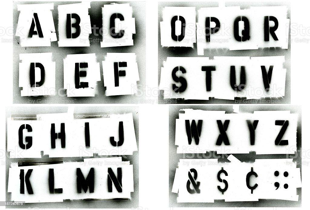 Black Spray Painted Stencil Alphabet Set Stock Photo